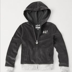 Abercrombie girls gray velour hoodie & sweatpant